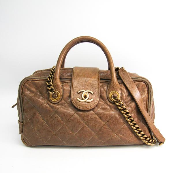 シャネル(Chanel) マトラッセ チェーントート レディース キャビアスキン トートバッグ ベージュブラウン