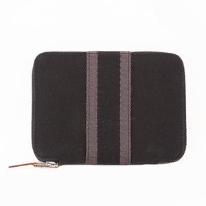 エルメス フールトゥ 二つ折り財布 キャンバス ブラック