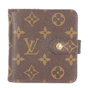Auth Louis Vuitton Folded Wallet Monogram Compact Zip M61667