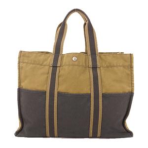 Hermes Tote Bag Fool Toe MM Canvas Black&Khaki