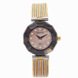 Auth Century Time Gems Quartz Stainless Steel,Yellow Gold Women's Watch