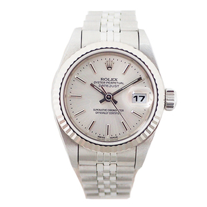 Auth Rolex Datejust Automatic Stainless Steel,White Gold Women's Watch 79174