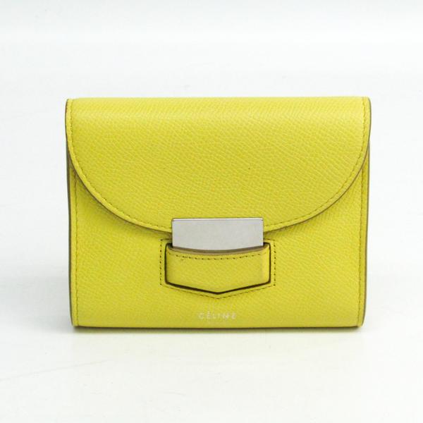 セリーヌ(Celine) トロッター レディース  カーフスキン 財布(二つ折り) イエロー