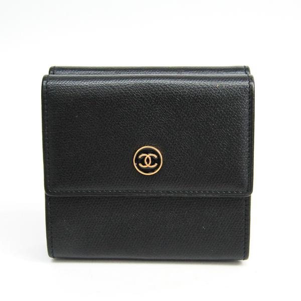 シャネル(Chanel) ココ・ボタン 三つ折り 財布 レディース  ゴートスキン 財布 ブラック