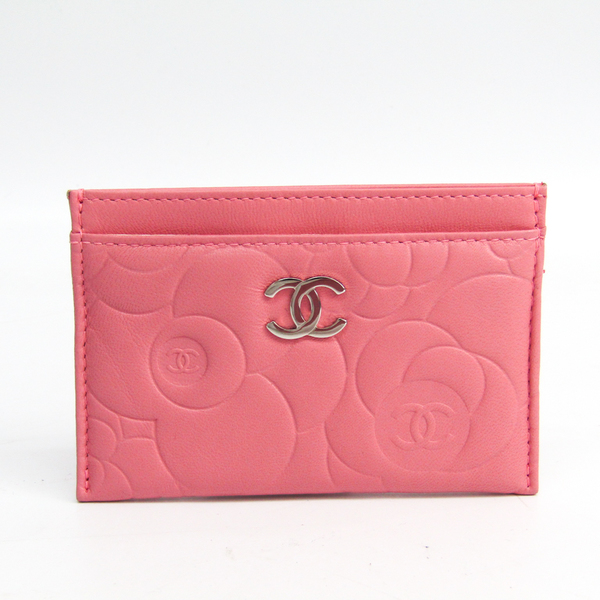Chanel Camellia Leather Card Case Pink