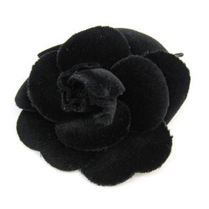 シャネル(Chanel) カメリア ブローチ ファブリック ブラック