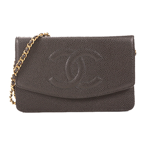 Auth Chanel Chain Wallet Women's Caviar Leather