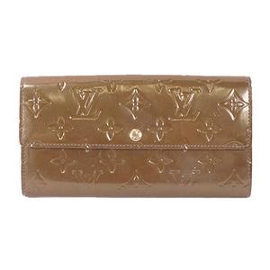Louis Vuitton Vernis Portefeuille Sarah M93668 Women's Vernis Long Bill Wallet (bi-fold) Vert Bronze