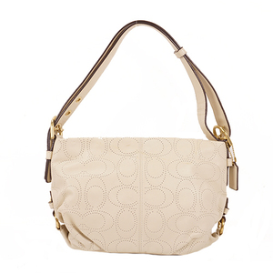 Coach Signature F17104 Leather Shoulder Bag White