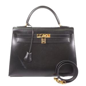 Hermes Kelly 32 Women's Box Calf Leather Handbag/Shoulder Bag Black
