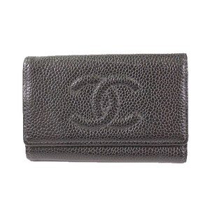 Chanel Keycase Women's Caviar Leather Key Case Black