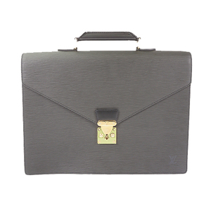 Auth Louis Vuitton Brief Case Epi Conseiller M54422 Noir