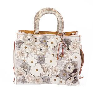 Auth Coach 20315 Leather Handbag White