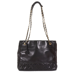 Auth Chanel Matelasse Women's Leather Tote Bag  Black