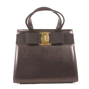 Salvatore Ferragamo Vara Hand Bag Women's Leather Handbag Black