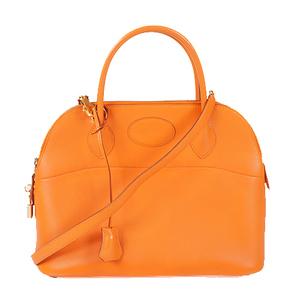 Hermes Bolide31 □BStamp Women's Chevre Leather Handbag,Shoulder Bag Orange