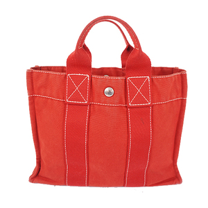 Auth Hermes Tote Bag Deauville PM Canvas Red