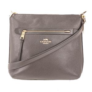 Auth Coach F34823 Women's Leather Shoulder Bag Black