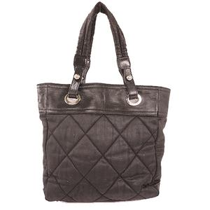 Auth Chanel Paris Biarritz Canvas Tote Bag Black