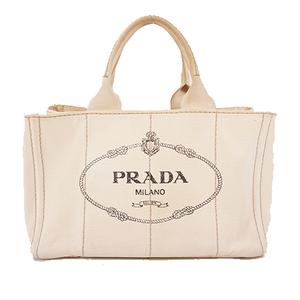 Auth Prada tote bag kanapa canvas ivory gold metal fittings