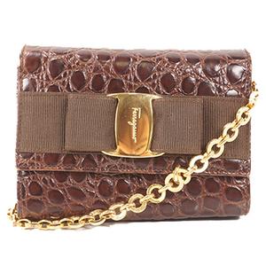 Salvatore Ferragamo Vara Ribbon Chain Shoulder Bag Women's Leather Clutch Bag,Pochette,Shoulder Bag Brown
