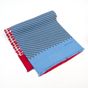 エルメス(Hermes) シェーヌダンクル レディース シルク スカーフ ブルー,グレー,レッド,ホワイト