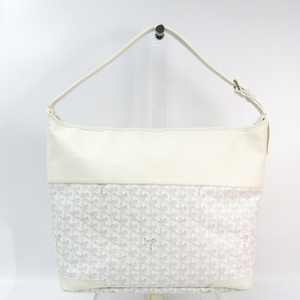 Goyard Grenadine Grenadine Leather,Canvas Shoulder Bag White