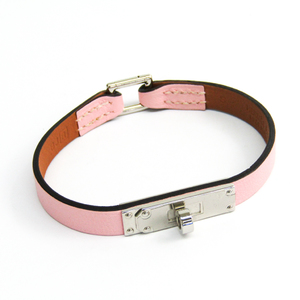Hermes Kelly Micro Kelly Metal,Swift Leather Bracelet Pink,Silver