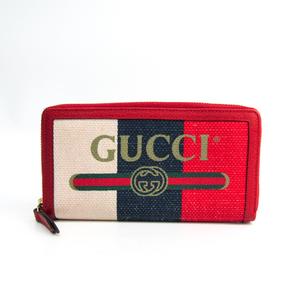グッチ(Gucci) GUCCIロゴ 524790 ユニセックス キャンバス,レザー 長財布(二つ折り) アイボリー,ネイビー,レッド