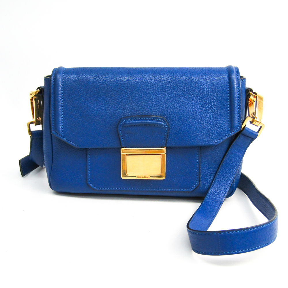 Miu Miu RT0555 Women's Madras Shoulder Bag Royal Blue
