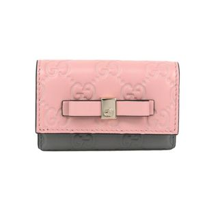 Gucci Guccissima Women's GG Leather Key Case Gray,Pink 388682 Japan Exclusive