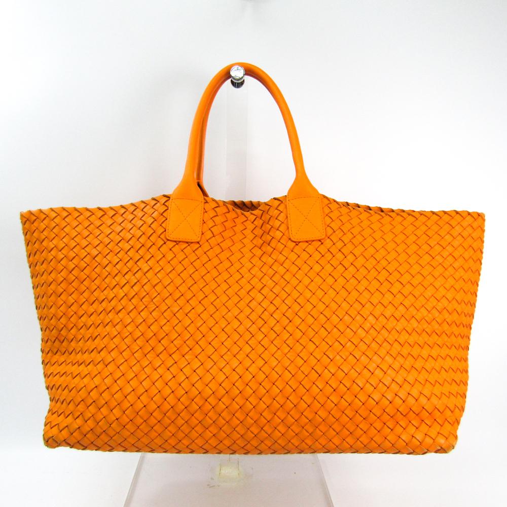 Bottega Veneta Intrecciato Cabas 2014‐2015 Limited Unisex Leather Tote Bag Orange