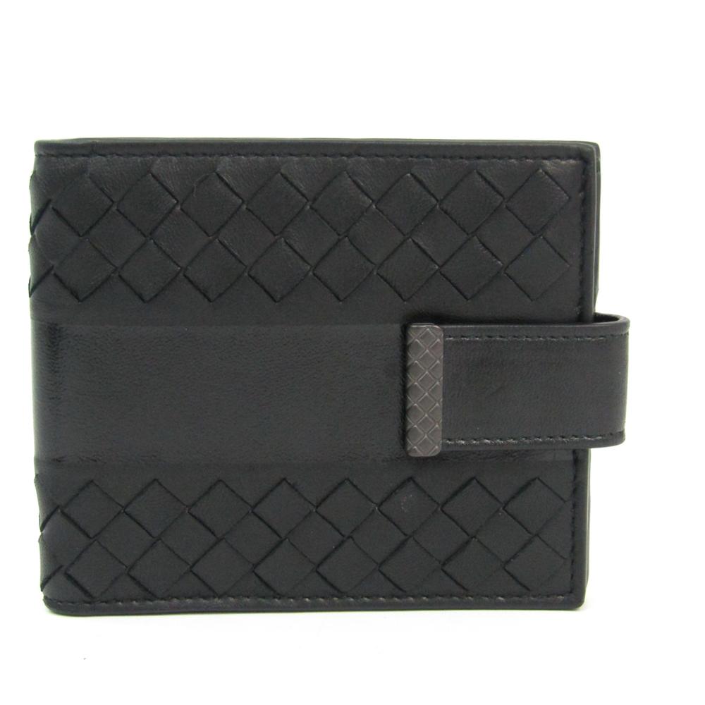 ボッテガ・ヴェネタ(Bottega Veneta) イントレチャート ユニセックス レザー 財布(二つ折り) ブラック