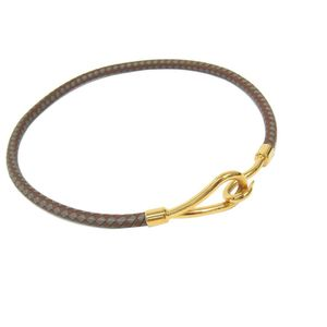 Hermes Jumbo Leather Women's Casual Choker Necklace (Brown,Gray) Woven