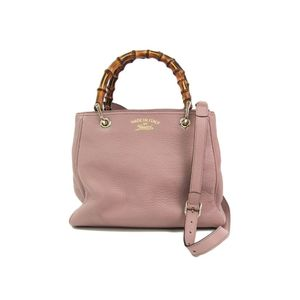 Gucci Gucci Swing 336032 Bamboo Shopper Medium Women's Handbag Dusty Pink