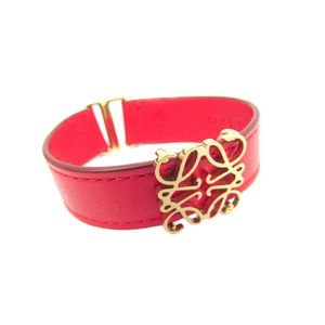 Loewe Leather Bracelet Gold,Red 111.25.002 Anagram