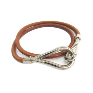 Hermes Jumbo Metal,Leather Unisex Choker Necklace (Silver,Natural)