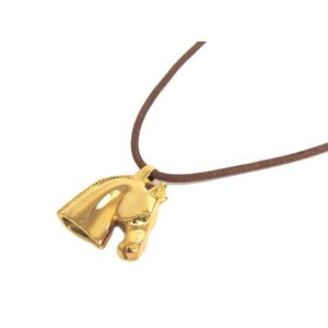 Hermes Leather Women's Pendant Necklace (Natural) Cheval