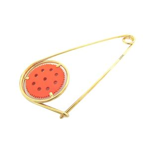 Loewe Metal Pin Brooch Gold,Orange Meccano Pin