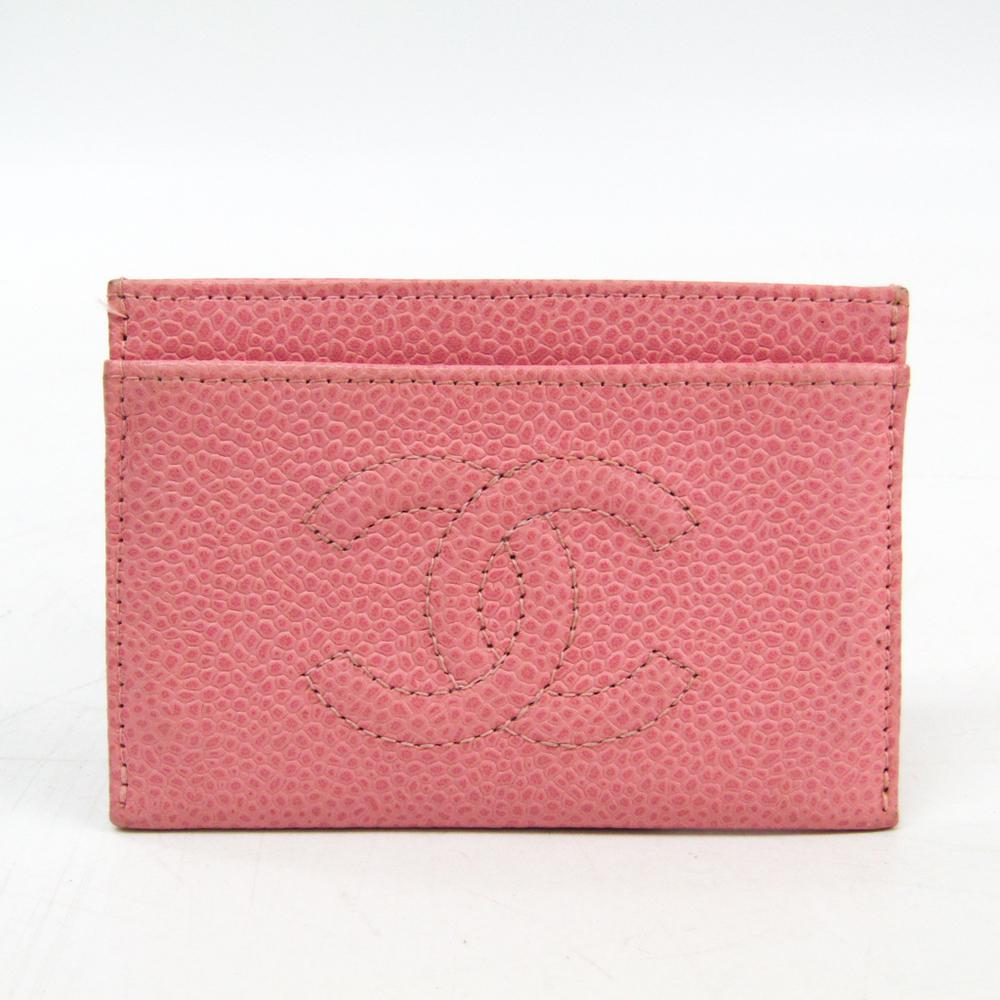 シャネル(Chanel) キャビアスキン カードケース ベビーピンク