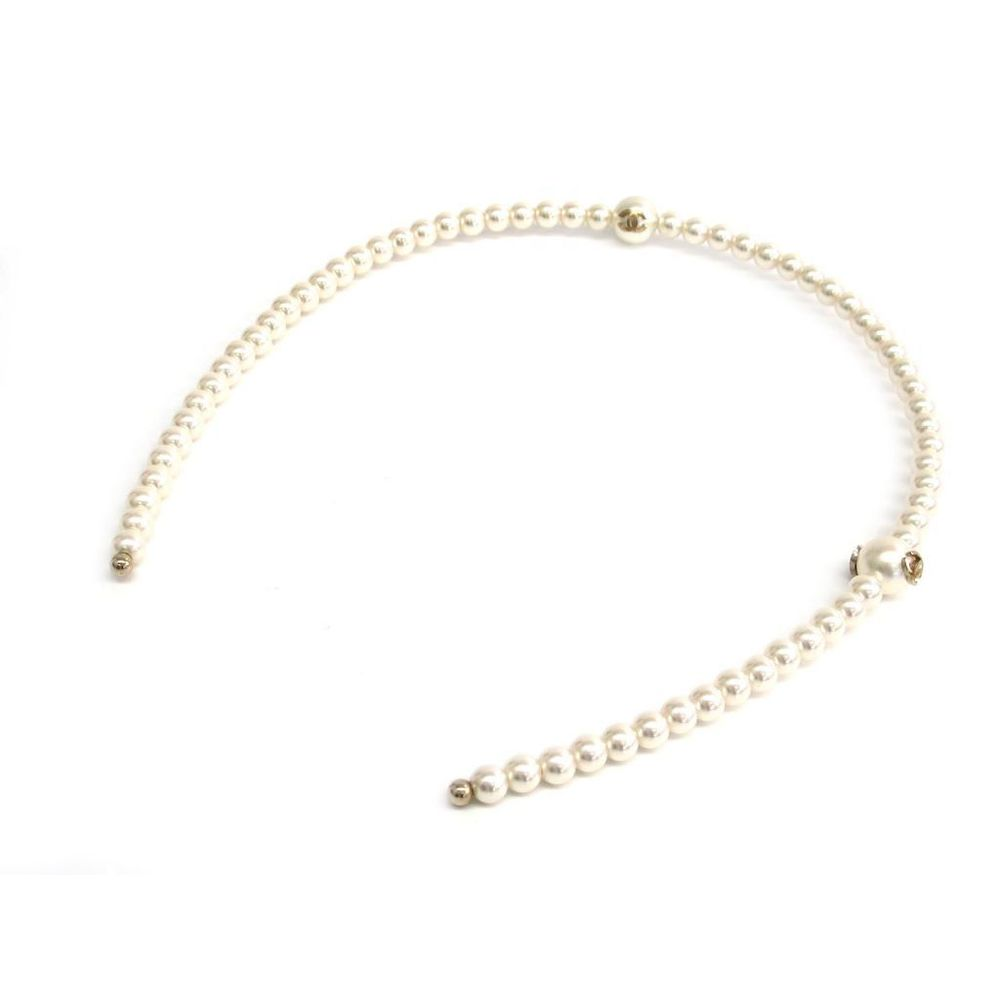 Chanel Metal,Artificial Pearl Women's Alice Band White,Gold
