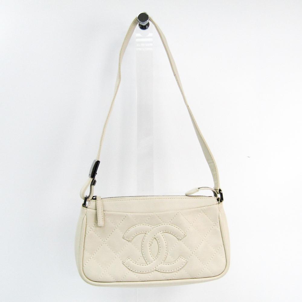 シャネル(Chanel) レディース レザー ハンドバッグ アイボリー