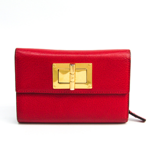 Tom Ford Unisex  Calfskin Middle Wallet (tri-fold) Red