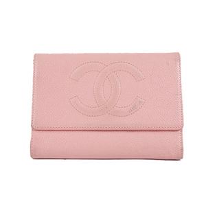 シャネル 三つ折り財布 キャビアスキン ピンク