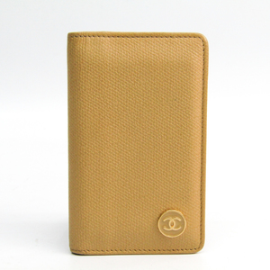 Chanel Coco Button Leather Card Case Beige