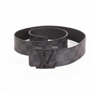 Auth Louis Vuitton Damier Graphite Men's Belt Black M9808 ak183