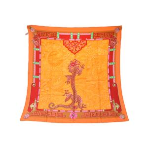 カルティエ(Cartier) シルク スカーフ ピンク,レッド,イエロー,グリーン,オレンジ Must de Twill Scarf Dragon Mysterieux Collection Chinese Asian Oriental