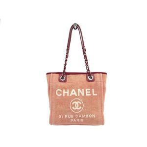 Chanel Deauville PM A66939 Women's Cotton Canvas Tote Bag Pink