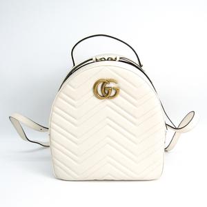 グッチ(Gucci) GGマーモント キルティング バックパック 476671 レディース レザー リュックサック ホワイト