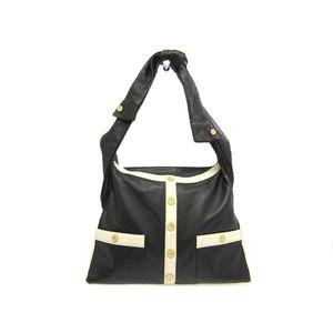Chanel Girl Chanel A90685 Women's Leather Shoulder Bag White,Black